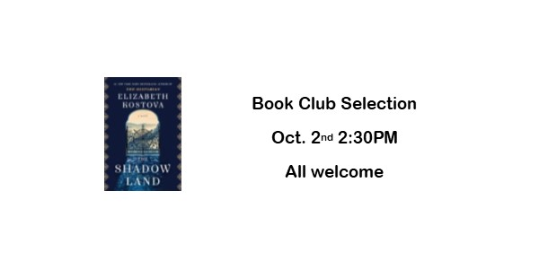 Book Club Selection for October 2nd at 2:30PM