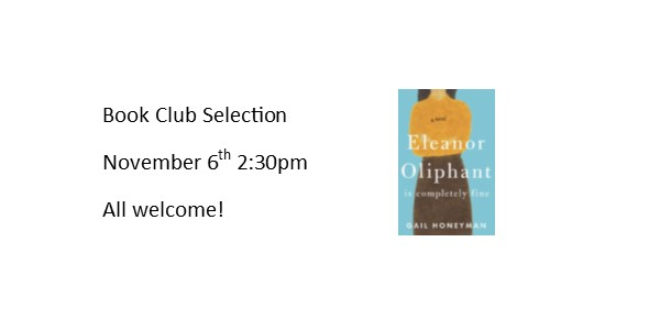 Book Club Selection for November 6th at 2:30PM