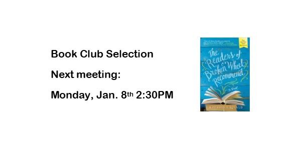 Book Club January 8th 2:30PM