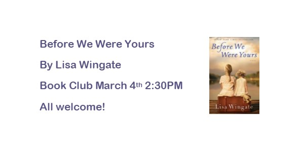 Book Club Selection for March 4th