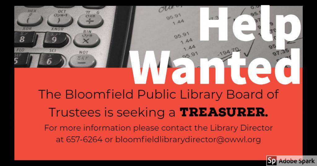 Treasurer Needed!