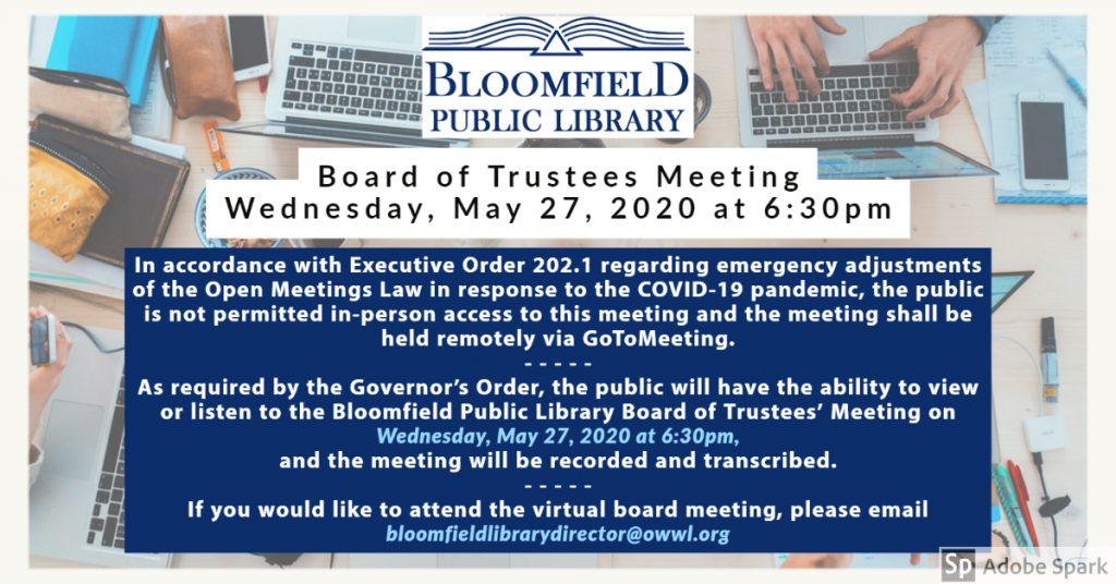 Virtual Board Meeting Wednesday, May 27, 2020 at 6:30pm